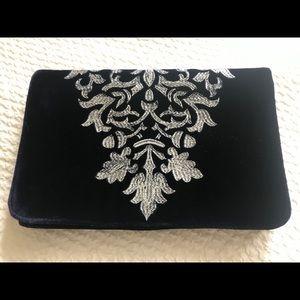 Navy blue velvet embroidered clutch